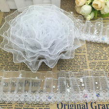 New 5 yards 3-Layer 45mm White Organza Lace Gathered Pleated Sequined Trim F#02
