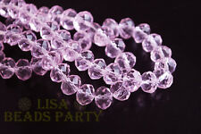 100pcs 3x4mm Faceted Rondelle Crystal Glass Loose Spacer Beads Pink Crafts