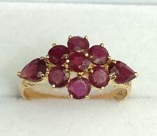 14k Solid Yellow Gold Cluster Band Ring, Natural Ruby 2.5TCW, Size 7.5
