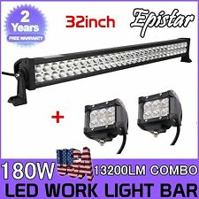 32'' 180W LED Light Bar Combo+4inch Cree Work Light Offroad Truck Jeep SUV 30/34