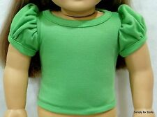 "GREEN Solid Puff Sleeve Knit DOLL SHIRT TOP fits 18"" AMERICAN GIRL Doll Clothes"