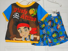 "DISNEY BOYS 12MO ""JAKE"" THE PIRATE  PAJAMA 2-PC SET-TOP/SHORTS BLUE NWT"