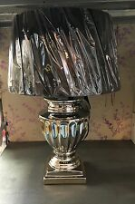 Sculptured Chrome Silver Ceramic Urn Black Shade Table Lamp NEW Luxury Lux Retro