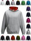 Childrens Hoodie Hoody Hooded Sweatshirt Boys Girls Kids Contrast Fashion Top