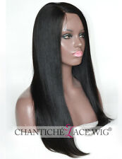 Indian Remy Human Hair Silk Top Deep Parting Lace Wigs Black Women Yaki Straight