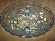Vintage Indiana Glass Oval Centerpiece Footed Fruit Bowl – Light Blue