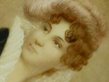 Antique Signed Girard ? Portrait Miniature Painting High Lace Collar Young Lady