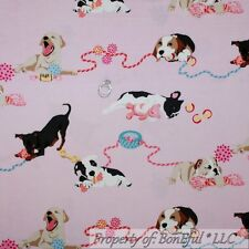 BonEful Fabric FQ Cotton Quilt Flannel Pink Baby Girl Puppy Dog Soft Toy Breed S