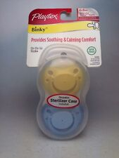 NIP Playtex BINKY Silicone Pacifier Baby Nipple 0-6m ~ 2pk + Case ~ YELLOW BLUE