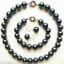 Genuine 10mm Black Natural Akoya Sea Shell Pearl Necklace Bracelet Earrings Set