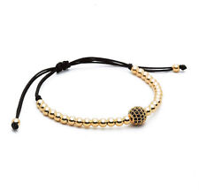 Mens Woman's 18k Gold Plated Diamond Ball Macrame Beaded Bracelets Handmade Gift