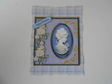 PACK 2 LILAC CAMEO EMBELLISHMENTS FOR CARDS/CRAFTS-HAPPY BIRTHDAY