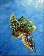 Sea Turtle Oil Painting - Hand Painted Wildlife Ocean Reptie Fine Art On Canvas