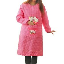 Hello Kitty Long Sleeve Waterproof Kitchen Dining Bar Apron Pinafore Pink
