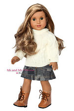 SWEATER + DENIM SKIRT + BOOTS OUTFIT Clothes for 18 inch American Girl Doll
