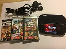 SLIM SONY PSP 3003 PIANO BLACK CONSOLE +4 GAME GTA GRAND THEFT AUTO D-DAY KILLZ'