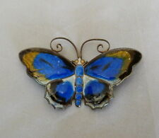"2 3/8"" VINTAGE LARGE DAVID ANDERSEN NORWAY STERLING SILVER ENAMEL BUTTERFLY PIN"