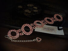 Light Rose Pink Crystal Loops Bracelet Made with Swarovski Elements. Adjustable