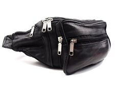 Leather Waist Bag Bum Bag Black Travel Pouch Pack 5 Zips