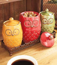 4- Pc. Owl Canisters and Tray Set Jar Home Decoration