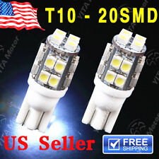 2 PCS NEW 6000K White Wedge T10 20-SMD LED Light bulbs W5W 2825 158 192 168 194