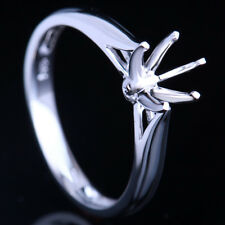 HOT RING ! STERLING PLATED W/G 6MM ROUND SEMI-MOUNT SOLITAIRE ENGAGEMENT RING