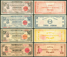 1942 US Philippines 1, 2, 5, 10 Peso NEGROS OCCIDENTAL QUEZON WW2 Emergency Note