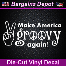 Vinyl Decal.. Make America GROOVY again!.. Car Laptop Vinyl Sticker Trump Hippie