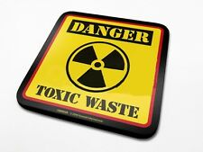 Danger Toxic Waste cork backed drinks mat / coaster     (py)