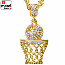 "Hiop Hop Iced Out 14k Gold Basketball Hoop Pendant 24"" Rope Chain HC 1109 G"