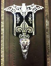 Steampunk Gótico Medalla Broche Plata Pájaro Calavera Murciélago Brocade Lolita Punk larper