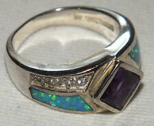 Gorgeous Vintage Sterling Silver Ring w/Amethyst/Opals/ White Sapphires Sz.6.5