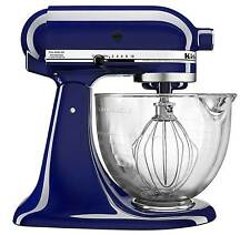New KitchenAid KSM105GBCBU Cobalt Blue Tilt-Head Stand Mixer with Glass Bowl