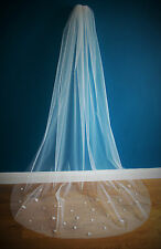Wedding Veil *Chapel Length*Made to Order*Light Ivory*Floral & Pearl*Cut Edge*