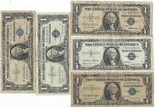 Old Rare US Blue Seal Silver Certificate Dollar Bill Paper Money Collection Lot