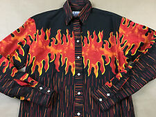 ROCKMOUNT Mens Small Ranch Wear Fire Flames Pearl Diamond Snap Shirt Tag S