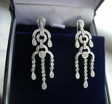 ELEGANT 14K WHITE GOLD DIAMOND CHANDELIER EARRINGS 108 RD DIAMONDS 0.60 TCW