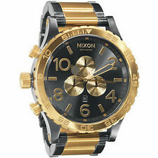 New Authentic NIXON Watch Mens 51-30 CHRONO Gunmetal & Gold A083-595 A083595
