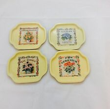 1986 SNP Chicago Tin Trays Made in Hong Kong Vintage Tin Flower Design Set of 4