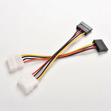 2Pcs 4-Pin IDE Molex to 15-Pin Serial ATA SATA Hard Drive Power Adapter Cable CN