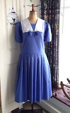 Vintage 80s Laura Ashley Edwardian 20s Style Sailor Collar Drop Waist Dress 8