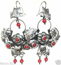 TAXCO MEXICAN 925 STERLING SILVER FRIDA STYLE CORAL FLOWER EARRINGS MEXICO