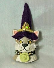 CAT WITCH PIN OOAK Halloween Grey White Whiskers gold yellow eyes lapel rose