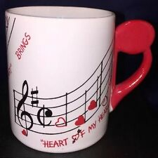 """Rare """"Shafford"""" love that melody Heart of my Heart mug red handle Musical Notes"""