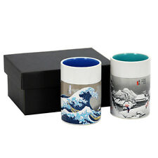 "2 PCS. Japanese 4""H Sushi Tea Cups Gift Set Hiroshige Wave & Snow, Made in Japan"