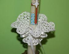 Vela blanco de ganchillo hecho a Mano Decoración Para Bautizo Comunión & Bautismo