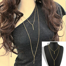 Ladies Gold Plated Vertical Bar Long Sweater Chain Dangling Bar Pendant Necklace