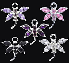 10 Mixed Rhinestone Dragonfly Charm Pendants 20x19mm