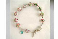 CLOISONNE ROSE BEADS PINK BRACELET ROSARY & CROSS
