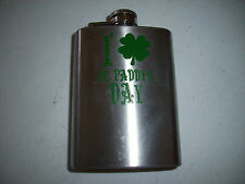 I Love St. Paddy's Patrick's Day Flask Whiskey 4oz stainless steel